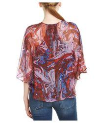 Ella Moss | Pink Silk Flutter Top | Lyst