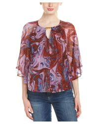 Ella Moss | Purple Silk Flutter Top | Lyst