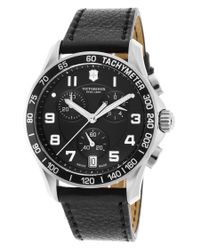 Victorinox | Black 241493 Men's Infantry Chronograph Leather Strap Watch for Men | Lyst