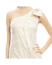 Aidan Mattox - White Flirty Fitted One Shoulder Ivory Lace Mini Bow Evening Dress - Lyst