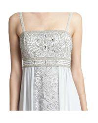 Sue Wong - Gray Intricately Beaded Empire-waist Evening Gown - Lyst