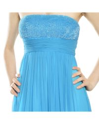 Aidan Mattox - Ocean Blue Silk Chiffon Beaded Sequins Eve Gown - Lyst