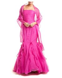 THEIA - Enchanting Pink Organza Strapless Mermaid Silk Evening Gown - Lyst