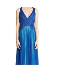 ML Monique Lhuillier - Blue V-neck Tulle Evening Gown - Lyst