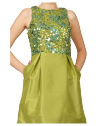 ML Monique Lhuillier - Green Lemongrass Sequin Faille Racerbackcocktail Eve Dress - Lyst