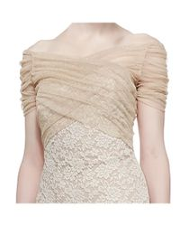 Badgley Mischka - Natural Metallic Lace Stretch Tulle Cocktail Evening Dress - Lyst