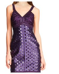 Sue Wong - Purple Sequined Beaded V-neck Sleeveless Sheath Cocktail Dress - Lyst