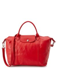 Longchamp | Red Le Pliage Cuir Leather Medium Handbag | Lyst