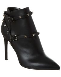 Valentino - Black Rockstud Noir Leather Bootie - Lyst