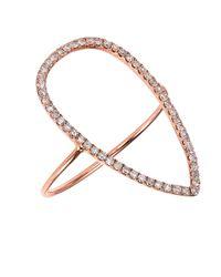 CR By Casa Reale - Metallic 18 K Gold White Diamond Open Tear Drop Ring - Lyst