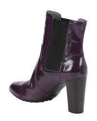 Tod's - Purple Leather Brogue Detail Ankle Boots - Lyst
