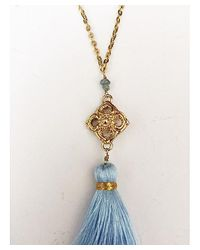 Blue Candy Jewelry - Tassel Light Blue With Gold Filigree Statement Piece - Lyst