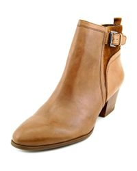 Franco Sarto - Brown Garda Round Toe Leather Ankle Boot - Lyst