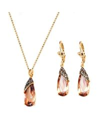 Peermont - Metallic Gold And Crystal Elements Wrapped Teardrop Earrings And Pendant Necklace Set - Lyst