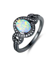 Peermont - Metallic Black Rhodium Plated Fire Opal Oval Statement Ring - Lyst