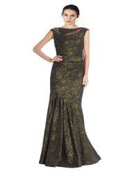 Teri Jon | Green Beaded Shoulder Sleeveless Evening Gown | Lyst