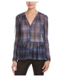 Rebecca Taylor   Blue Shadow Plaid Silk Top   Lyst