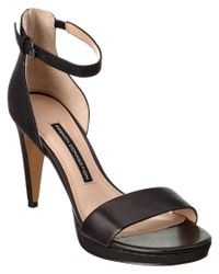 French Connection   Black Nata Leather Sandal   Lyst