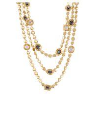 Melinda Maria - Metallic Mighty Goddess 14k Plated Hematite & Cz Multi-strand Toggle Necklace - Lyst