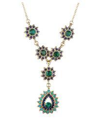 Sparkling Sage | Blue 14k Plated Resin Crystal Necklace | Lyst