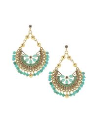 Sparkling Sage - Multicolor 14k Plated Crystal & Resin Fan Earrings - Lyst