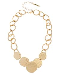 T Tahari - Multicolor Graduated Hammered Disc Necklace - Lyst