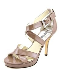 MICHAEL Michael Kors | Natural Evie Women Open Toe Patent Leather Sandals | Lyst