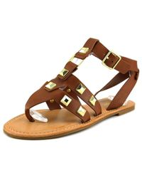 Bamboo - Brown Bellagio-02 Women Open-toe Synthetic Slingback Sandal - Lyst