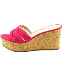 kate spade new york - Talcott Women Open Toe Leather Pink Wedge Sandal - Lyst