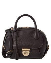 Ferragamo | Black Fiamma Small Leather Satchel | Lyst