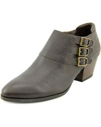 Franco Sarto | Brown Genna Round Toe Leather Bootie | Lyst