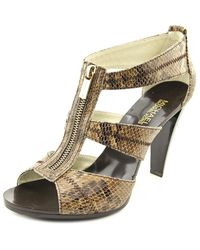 MICHAEL Michael Kors | Metallic Berkley T Strap Open Toe Leather Sandals | Lyst