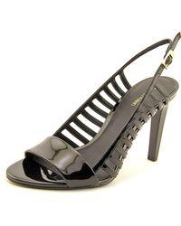 Calvin Klein | Black Nikita Open-toe Patent Leather Slingback Heel | Lyst