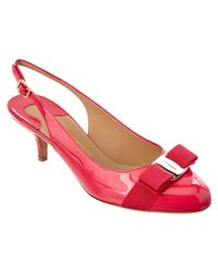 Ferragamo | Pink Patent Slingback Kitten Heel Pump | Lyst
