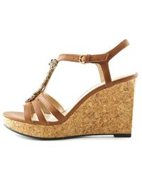 Adrienne Vittadini - Natural Canis Open Toe Synthetic Wedge Sandal - Lyst