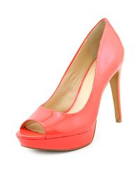Vince Camuto - Pink Janeese Open Toe Patent Leather Platform Heel - Lyst