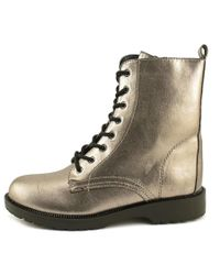 G by Guess - Metallic Silvia Round Toe Leather Ankle Boot - Lyst