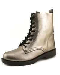 G by Guess | Metallic Silvia Round Toe Leather Ankle Boot | Lyst