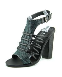 L.A.M.B. | Bedford Women Open Toe Leather Black Sandals | Lyst