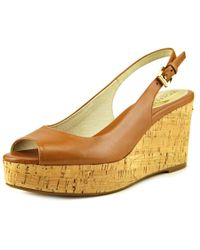 MICHAEL Michael Kors | Multicolor Natalia Sling Women Peep-toe Leather Tan Slingback Heel | Lyst