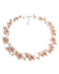 Aeravida | Pink Intricate Cultured Freshwater Pearl Flower Link .925 Silver Necklace | Lyst