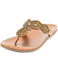 Kenneth Cole Reaction | Metallic Slim-tastic Open Toe Synthetic Thong Sandal | Lyst