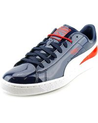 e452b086148 Lyst - Puma Basket Classic Round Toe Patent Leather Sneakers in Blue ...