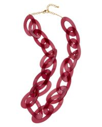 Kenneth Jay Lane   Red 22k Plated Resin 36in Link Necklace   Lyst