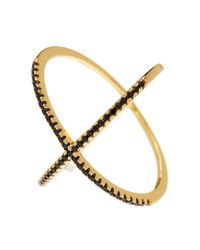 Adornia | Yellow Gold Vermeil And Black Swarovski Crystal X Ring | Lyst