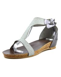 Kenneth Cole Reaction | Metallic Lexi Open-toe Synthetic Flats | Lyst