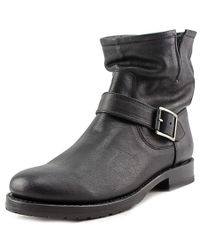 Frye | Black Natalie Short Engineer Women Round Toe Leather Ankle Boot | Lyst