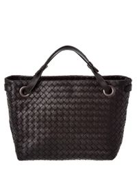 Bottega Veneta | Black Small Intrecciato Nappa Leather Shoulder Bag | Lyst