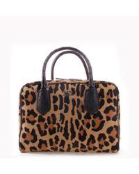 Prada | Yellow Cheetah Pattern Cavallino Leather Inside Bag Tote Handbag | Lyst
