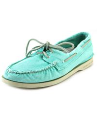Sperry Top-Sider | Green Sperry Top Sider Bahama 2-eye Washed Canvas Canvas Boat Shoe | Lyst